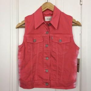 Levi's Coral Pink Ombre Denim Vest (NWT)